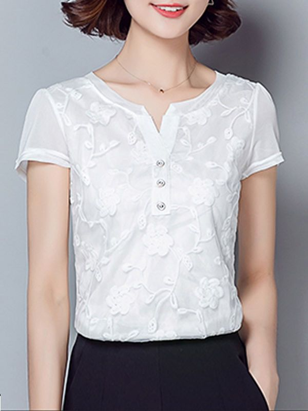 Embroidery Solid Delicate Sweetheart Blouses