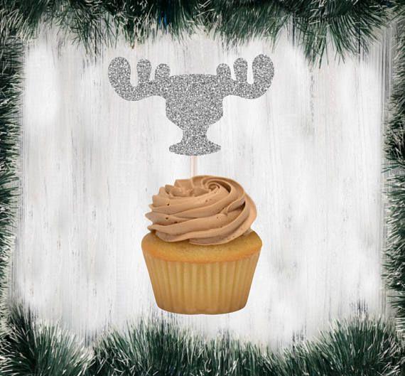 moose mug moose glass glittery christmas party picks