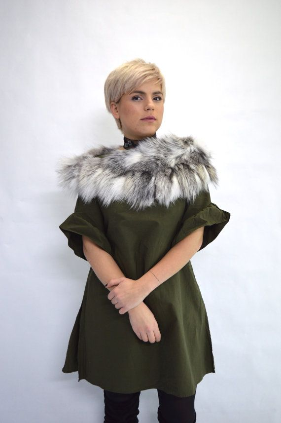 Real fox collar real fur shawl platinum fox fur stole. by BeFur