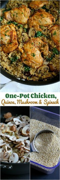 One-Pot Chicken, Quinoa, Mushrooms