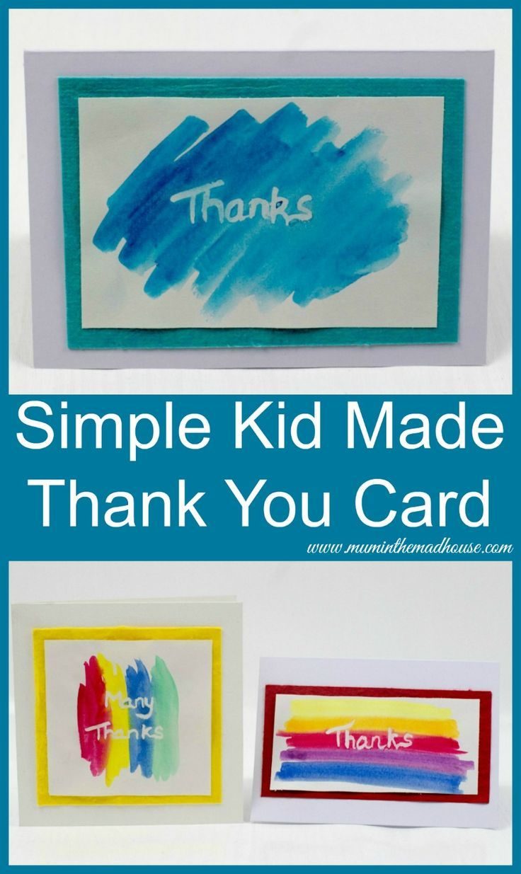 Simple Kid Made Thank You Card.  Saying thank you is so important it in style with this simple kids craft.  Resist message cards