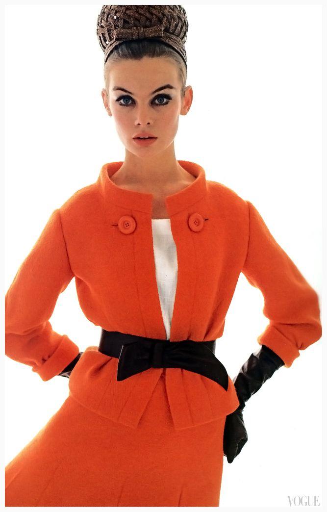 Jean Shrimpton. Suit: Dior, Spring 1963. Photo: David Bailey for Vogue, March 1963.