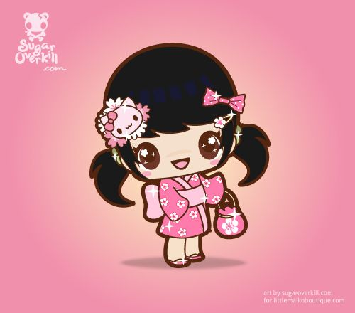 "A Kawaii chibi girl in a pink sakura kimono. A mascot commissioned by ""Little Maiko Boutique""."