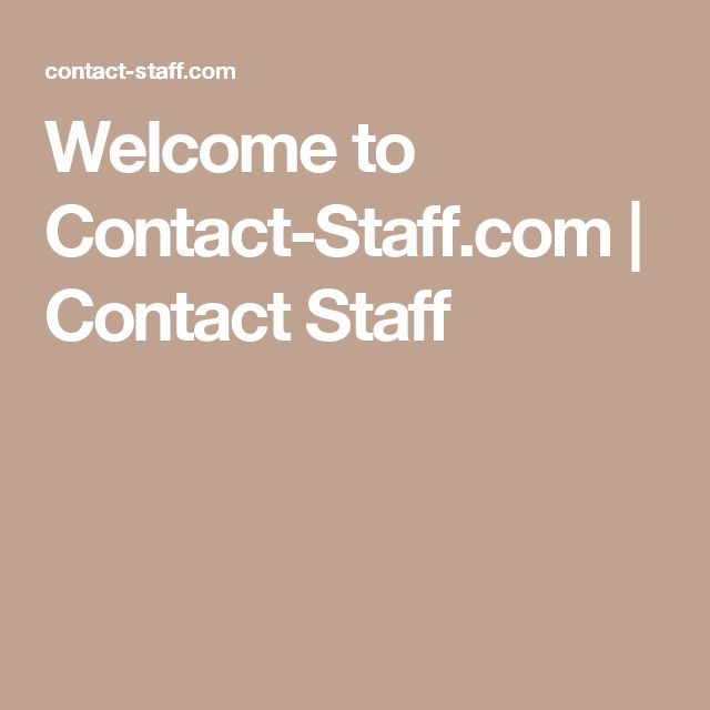 Welcome to Contact-Staff.com | Contact Staff