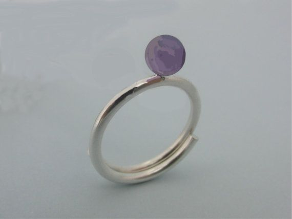 Amethyst RingEngagement Ring Solitaire Ring by AMjewelryStudio