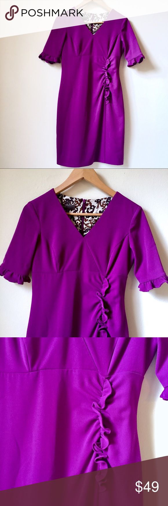 Ruffle accented, petite, purple dress EUC Donna Rico purple dress with ruffle twist accent at waists and end of sleeves. Size 2 petite.   ✔️ Like new condition- I've only worn it on a TV studio set. The bright purple color really POPS on air!   ✔️Ruffle twist accent at waist is very flattering. Also ruffles at end of sleeves, that hit above elbow. Fully lined.   ✔️Great for work, post work and less formal weddings.   ✔️ I had it dry cleaned to sell. Donna Ricco Dresses