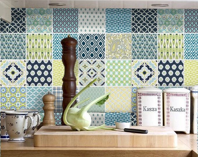 Tile Stickers Vinyl Decal WATERPROOF REMOVABLE for kitchen bath wall floor or stair: Mix Fmix001