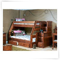 Chelsea Home Twin Over Full Bunk Bed with Stairway Chest - Cocoa