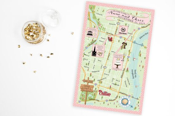 Custom Wedding MAP- Any Location Available-Philadelphia, Pennsylvania Map Pictured- Destination Wedding, City Map- Wedding Map Directions
