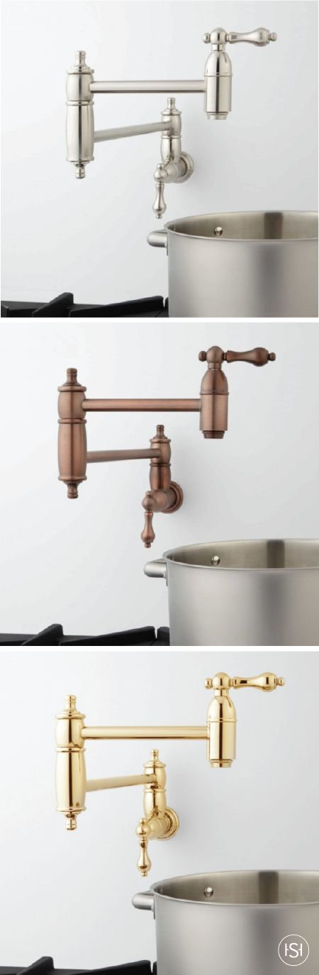 When you're creating your dream kitchen remodel plans, make sure to include the Augusta Wall-Mount Retractable Pot Filler. The convenience, classic design, and variety of metal finishes makes this piece a winning combination.
