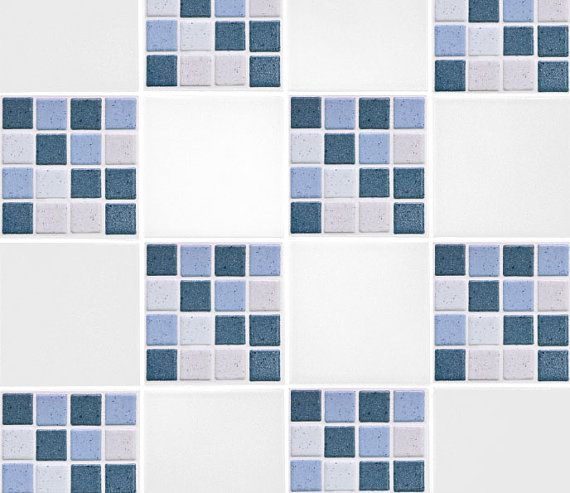 Blue Mosaic Tile Transfers 4 x 4 Printed by TheWallStickerComp