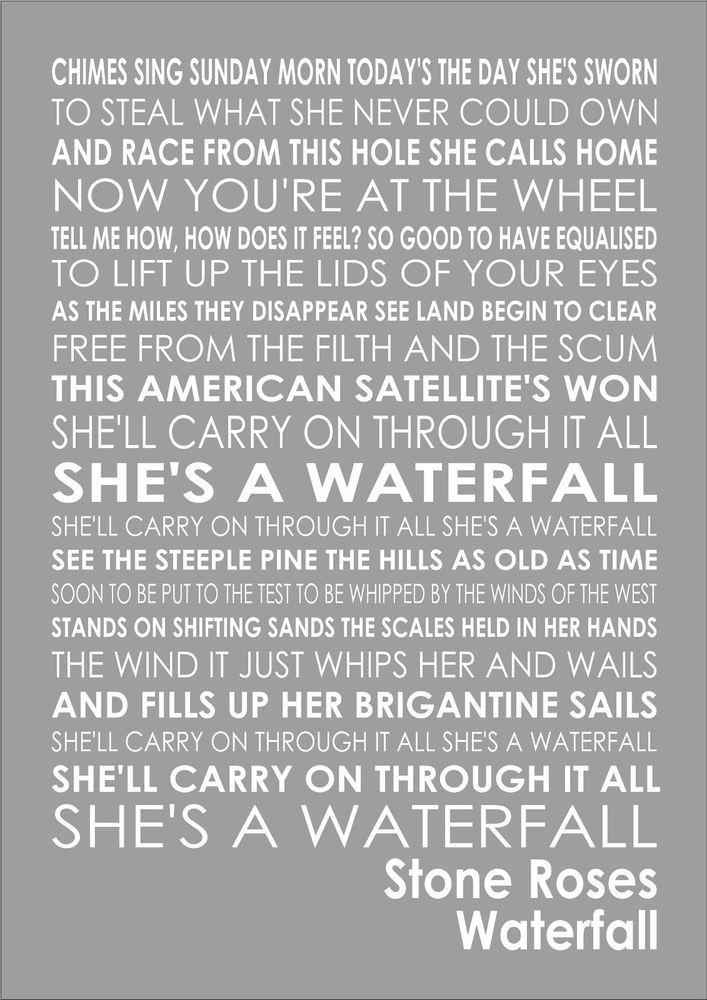 Stone Roses - Waterfall - Word Words Song Lyric Lyrics Wall Art Typography