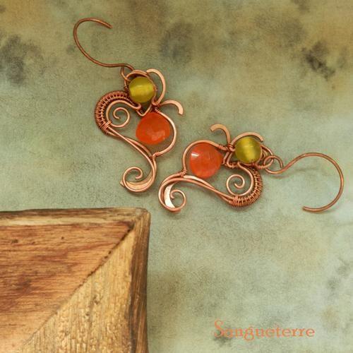 Fructu * juicy earrings * wirewrapping * wirewrapped * jewelry * copper * romantic * fantasy * fairy * elf * fairytale * magic * art nouveau * handmade