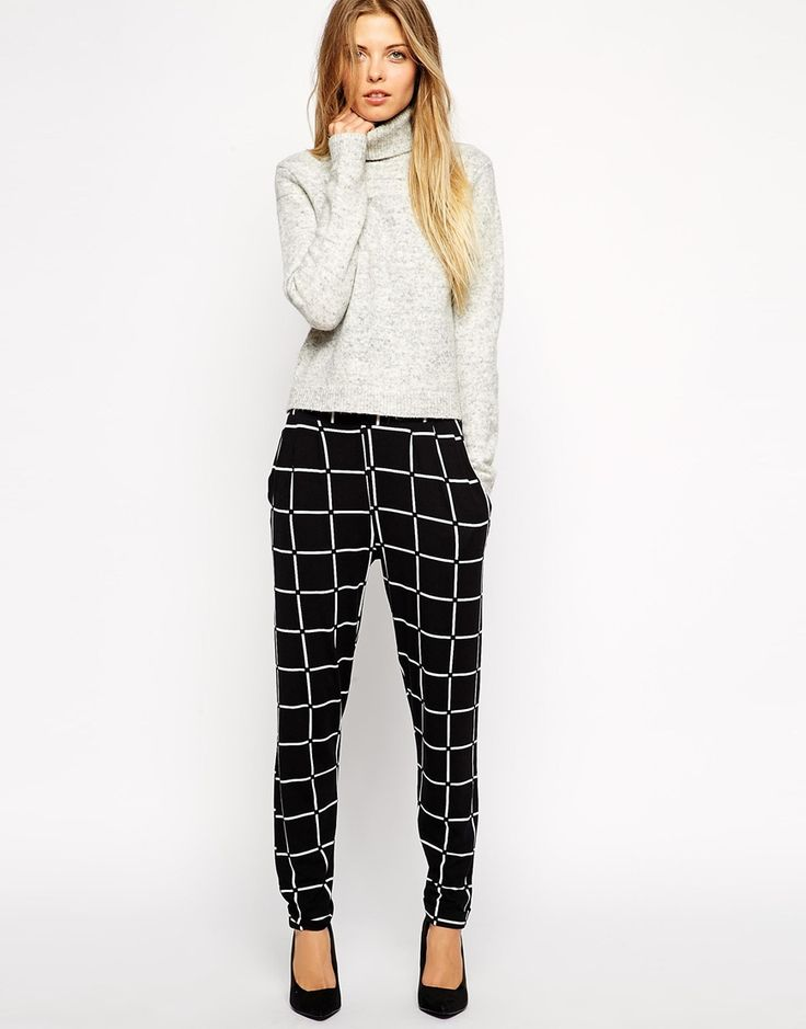 Image 1 of ASOS Jersey Peg Pants In Grid Check
