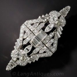 Art Deco Platinum and Diamond Double Clip Brooch - Vintage Jewelry