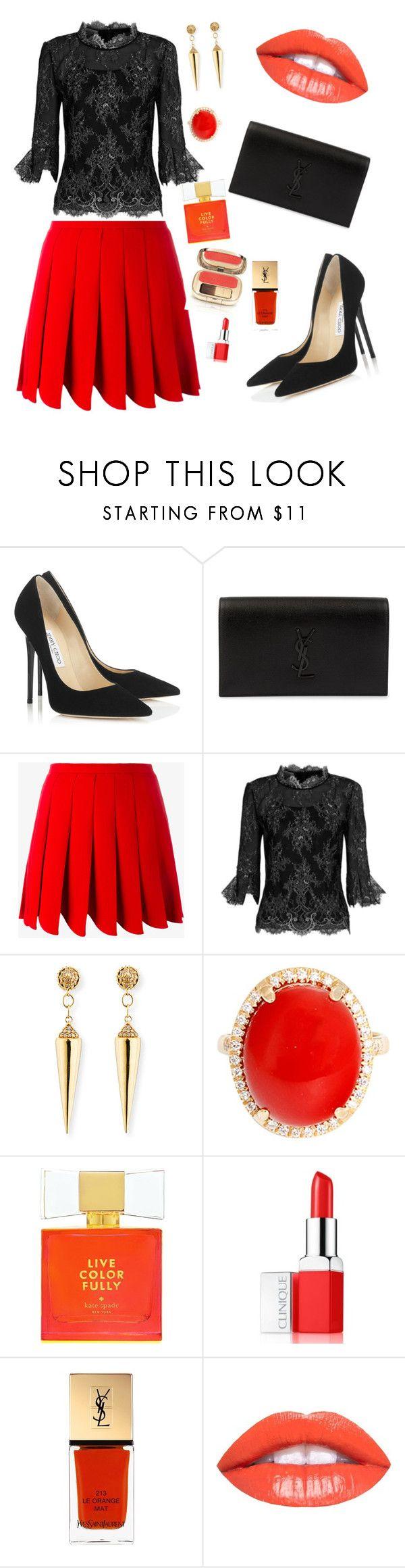 Orange & Black  outfit by Diva of Cake featuring mode, Oscar de la Renta, Miu Miu, Jimmy Choo, Yves Saint Laurent, Sydney Evan, Clinique, Kate Spade and Dolce&Gabbana