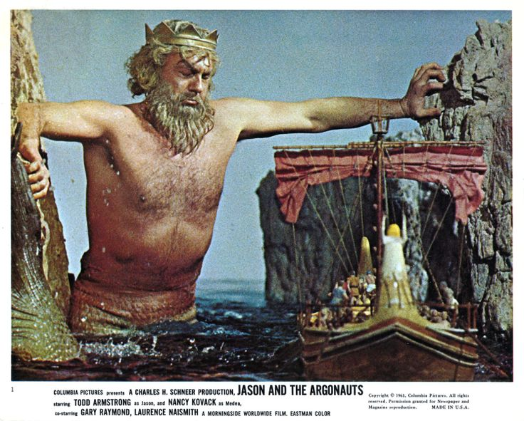 Jason and the Argonauts (1963) ~ Ray decided to use a live actor for Triton because with animation it is very difficult to work with water, so they just slowed down the camera speed making him look immense.