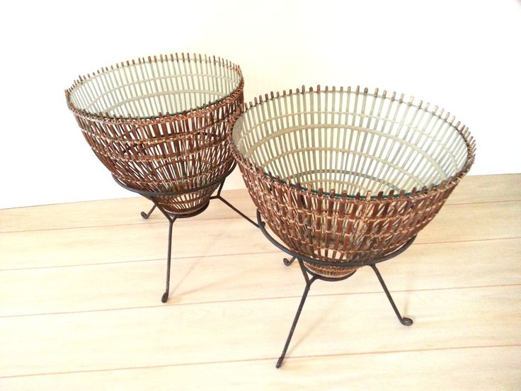 Side Tables Mid-Century Modern Franco Albini Rattan, Iron and Glass Side Tables by LUCKYHOMEFINDS on Etsy