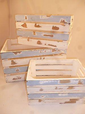 3-er Set Holzkisten,Kiste,Shabby chic,Vintage,Used-Look,Dekokisten,maritime Deko