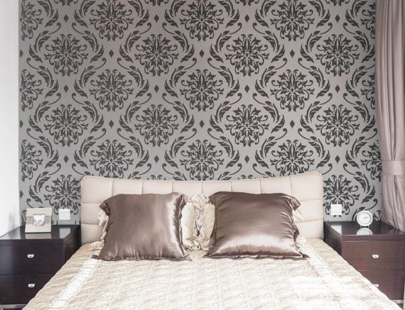 Hey, I found this really awesome Etsy listing at https://www.etsy.com/listing/173249249/lily-blooms-damask-wall-stencil-for-diy