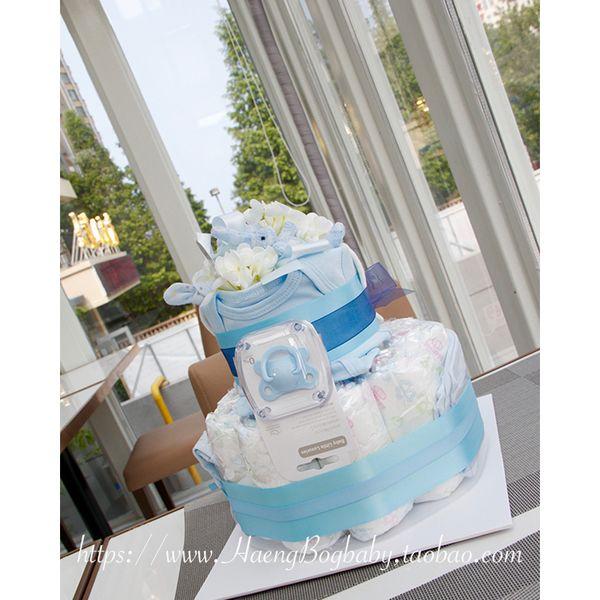 Наборы для новорожденных из Китая :: Haengbogbaby Счастливый ребенок торт Подарочная коробка подарка box торт пеленки любовь синий 2.
