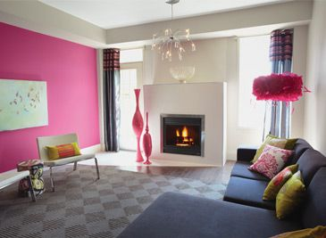 Living Room Pink Accent Wall