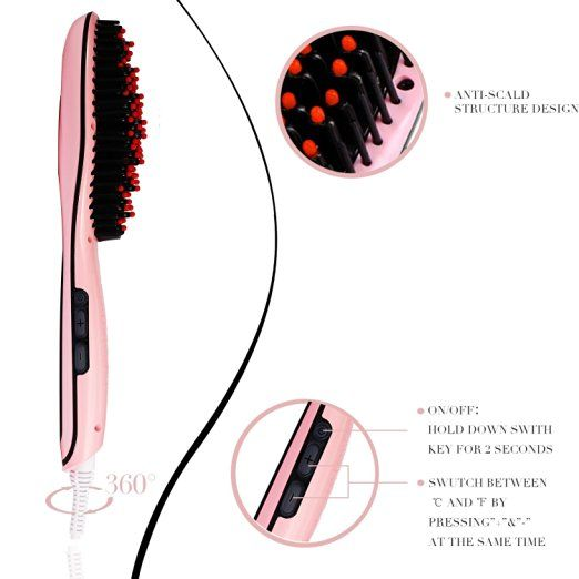 Amazon.com : Hair Straightener BESTOPE Hair Straightening Brush with FREE Heat Resistant for Silky Frizz-free Hair Brush (450℉ Max, Support Dual Voltage, Anti-Scald) : Beauty