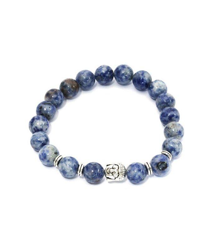 Blauwe herenarmband gemaakt van howliet steen en buddha bedel|herenarmbanden koop je online