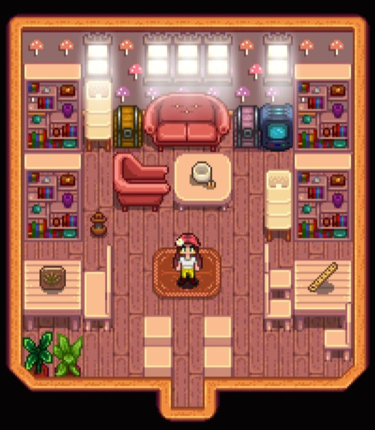 Cutesy library stardew valleyshed design layoutby