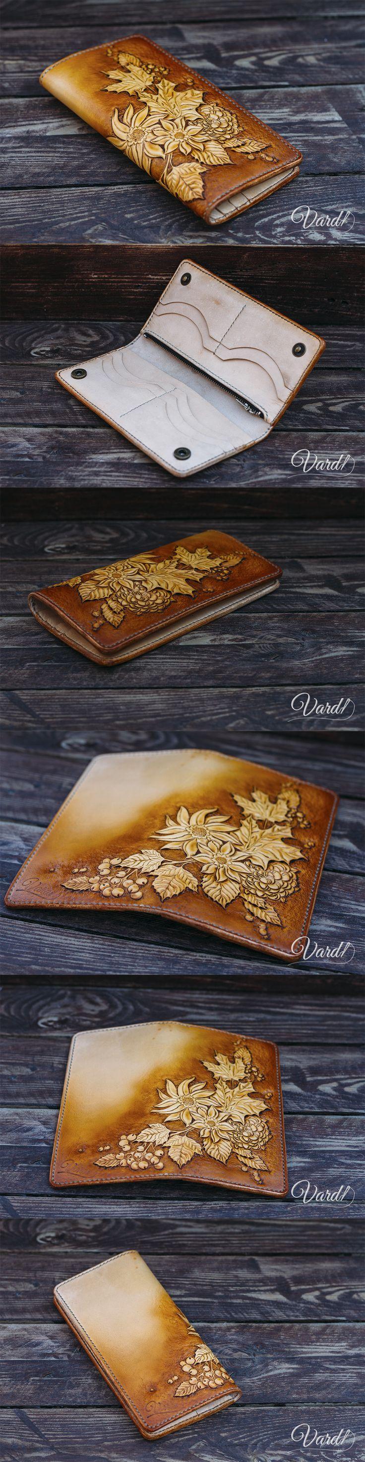 Handcrafted leather wallet, EMBOSS Vardi Craft Handmade long leather wallet man, girl vintage gray long wallet
