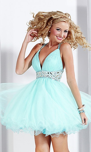 Short V-Neck Prom Dress by Hannah S at SimplyDresses.com: Homecoming Dresses, Blue Natural, Long Evening Dresses, Baby Dolls, Prom Dresses, Doll Long, Halter Light, Elegant Halter