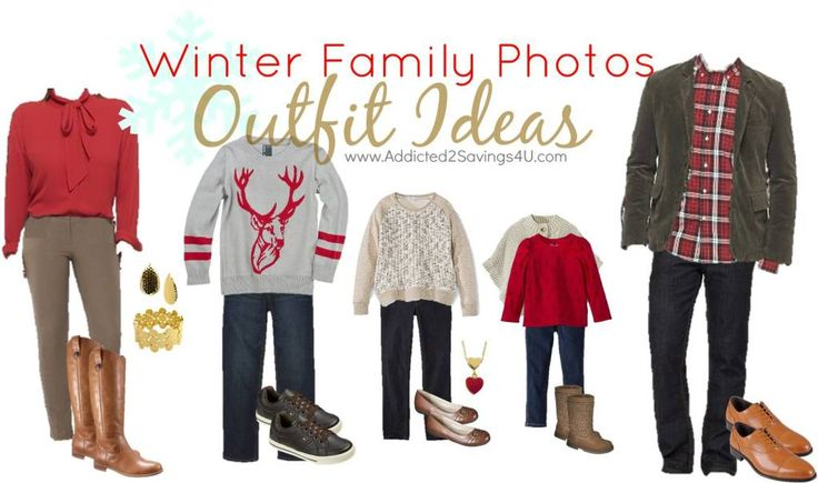 Winter Family Photos Outfit Ideas #familyphotos #outfitideas  - Pops of Red - Addicted 2 Savings 4 U