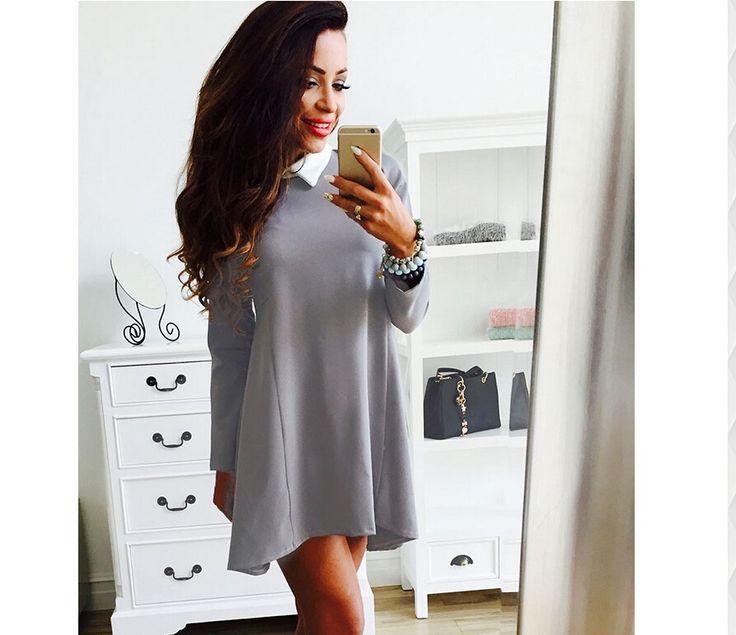 2016 новая весна лето сексуальный питер пэн воротник нерегулярные мини платье женская свободного покроя одежда и аксессуары леди Vestidos 910 купить на AliExpress