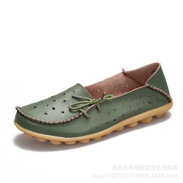 b13a417fa5f Big Size Hollow Out Star Lace Up Soft Leather Multi-Way Shoes
