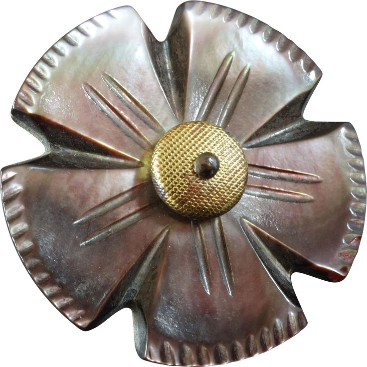 Large Antique Victorian Carved Mother of Pearl Metal Flower Button 1 5/16'