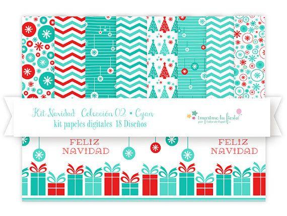 Para esta Navidad!! Papeles Digitales : Kit Navidad en Cyan Papeles por ImprimeTuFiesta