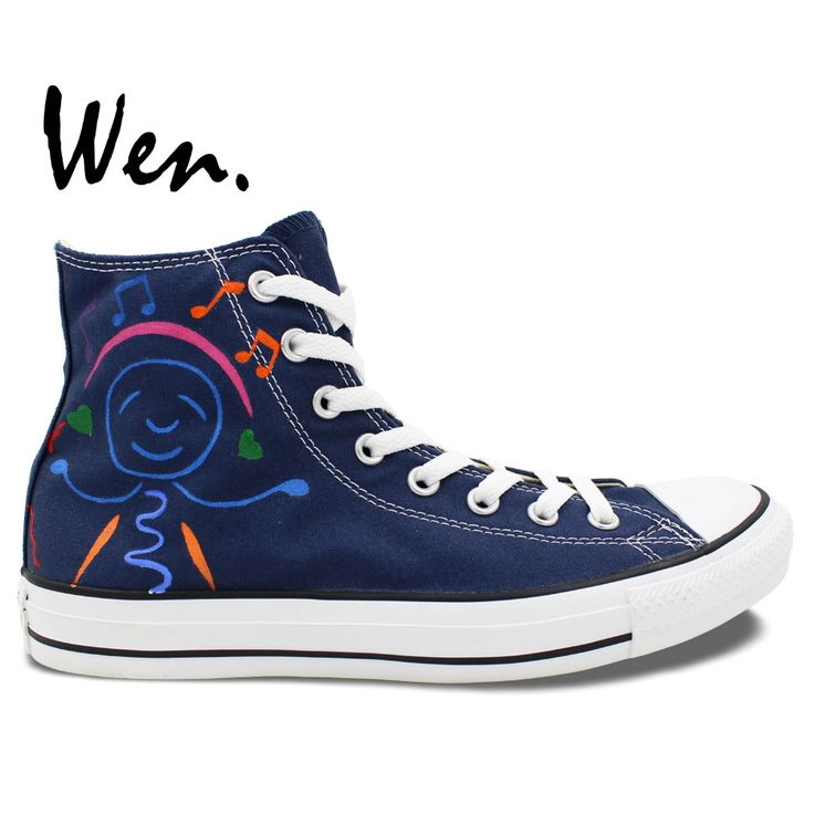 Wen Original Hand Painted Shoes Design Custom Cartoon Music Guitar Smiling  Face Men Women's Dark Blue High Top Canvas Sneakers From Reliable High  Canvas ...