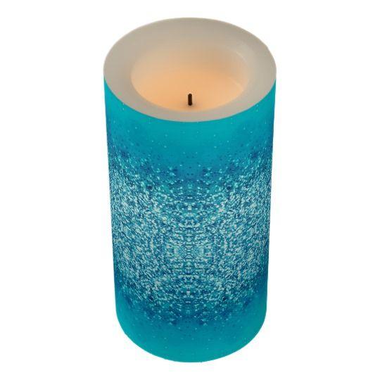 Elegant Blue Frost Sparkle Flameless Candle