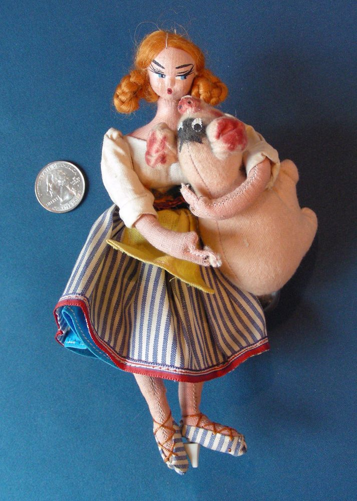vintage ROLDAN KLUMPE LAYNA type cloth CHARACTER DOLL farm girl pig hog SPAIN #LaynaRoldantype
