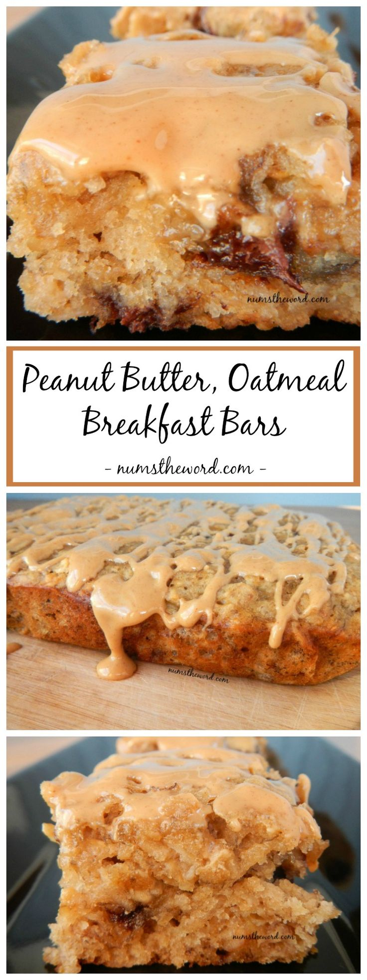 Peanut Butter, Oatmeal Breakfast bars are a great way to use up ripe bananas. Easy, delicious and perfect for on the go! Kid friendly!