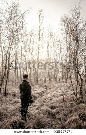 Man Looking At Winter Forest Stock Photo 235447471 : Shutterstock