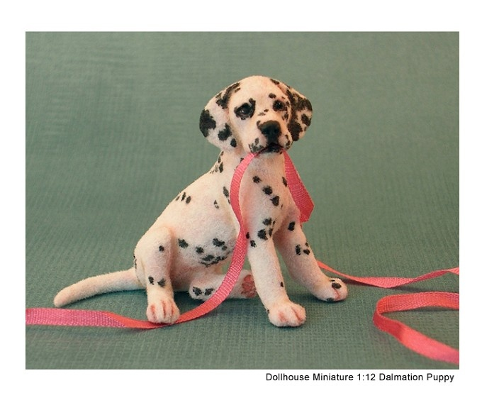 Tiny Dalmation pup (with open mouth feature) - an original sculpture made from polymer clay, fibers/flock by Kerri Pajutee