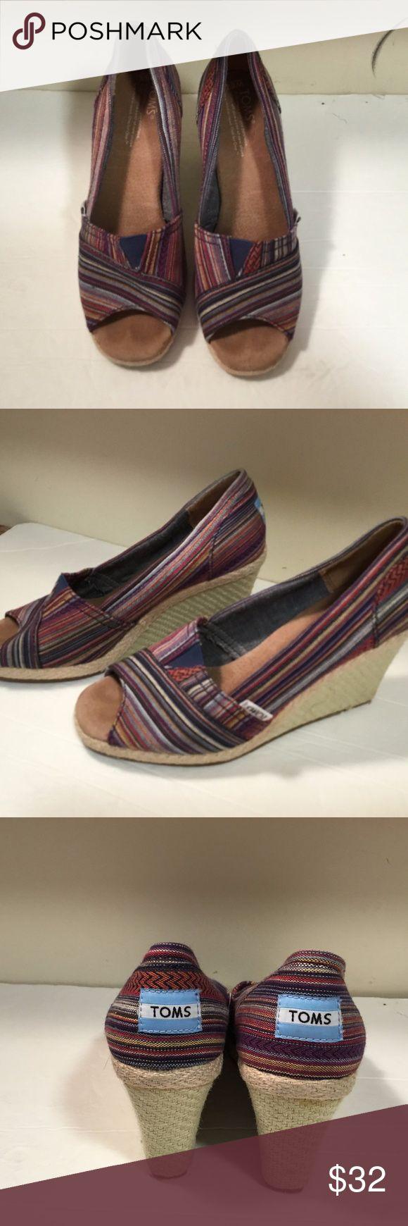 Toms Peep Toe Wedges Shoes Heels Womens sz 6.5 Toms Peep Toe Wedges Shoes Heels Womens sz 6.5 Toms Shoes Wedges
