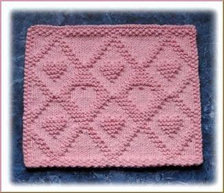 Lattice Hearts Free Knit Dishcloth Pattern