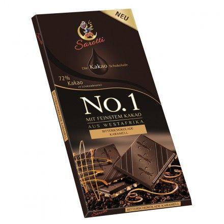 La tableta de chocolate negro Oeste de África, con un 72% de cacao y caramelo, marca Sarotti, es uno de los más populares de los productos de la tienda online gourmet y delicatessen Érase un gourmet