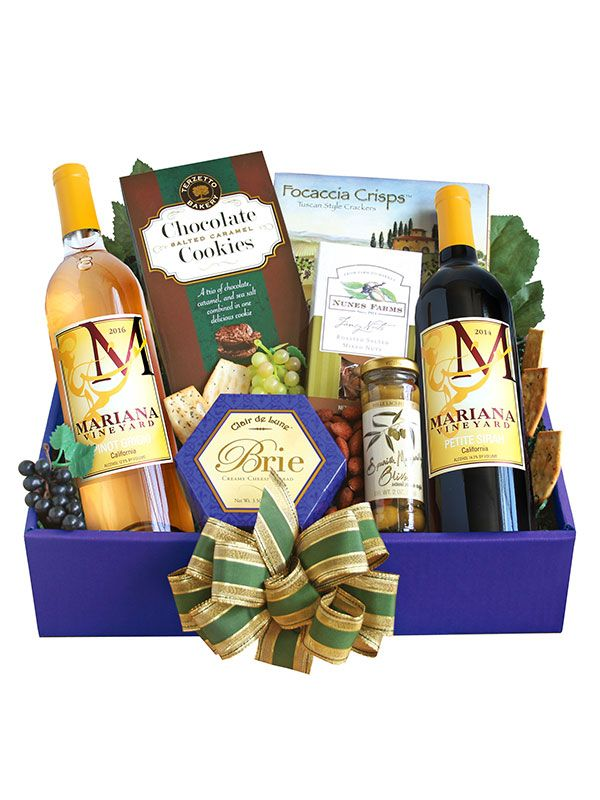 Our exclusive red and white wines are surrounded by gourmet goodies in this veritable treasure chest. This basket is filled with tasting pleasure. From crackers, cheese, mustard and salami, to a spreader and specialty chocolate, wine lovers will be set … Read More »