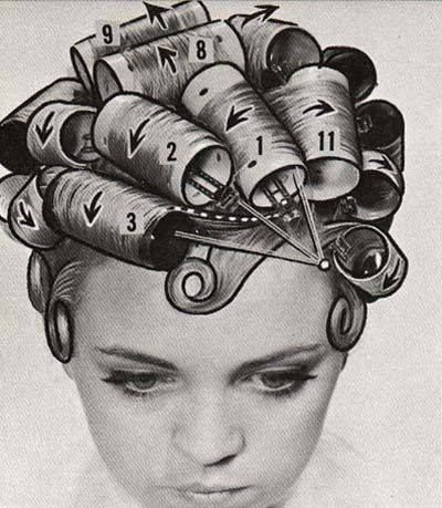Here is a cool vintage hair roller diagram