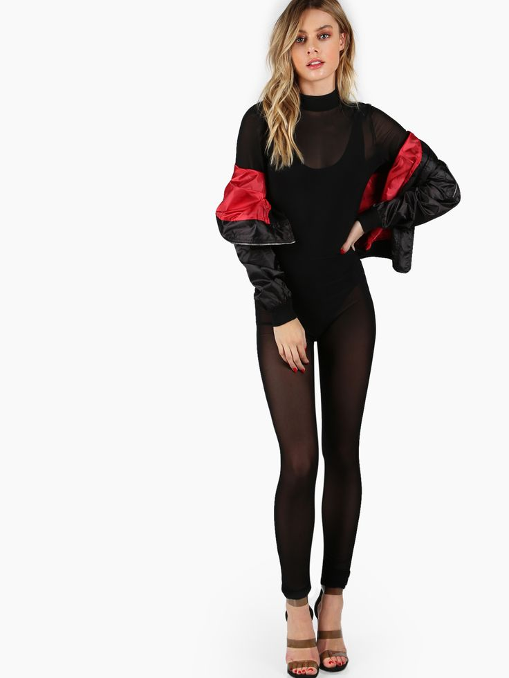 Shop Long Sleeve Skinny Mesh Jumpsuit BLACK online. SheIn offers Long Sleeve Skinny Mesh Jumpsuit BLACK & more to fit your fashionable needs.