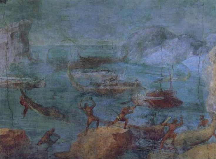 ART: THE LAESTRYGONIANS HURLING ROCKS AT FLEET OF ODYSSEUS Wall painting from…