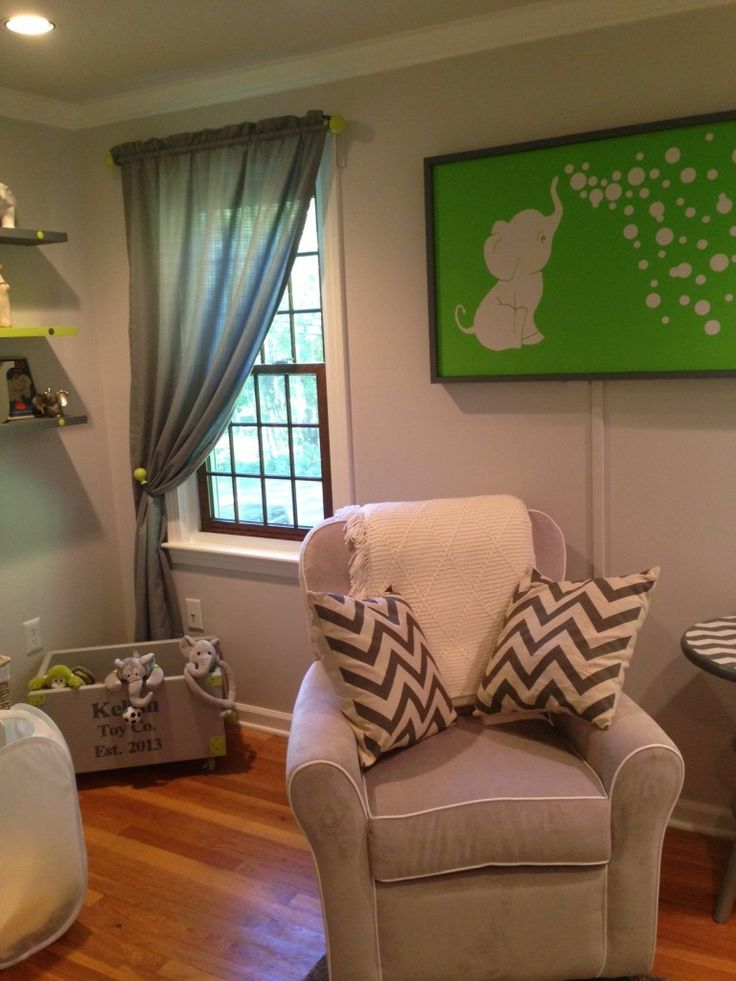 Project Nursery - Gray and Lime Green Nursery Glider